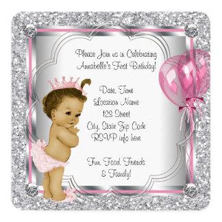 1. Geburtstag Party rosa Prinzessin- Einladungskarte
