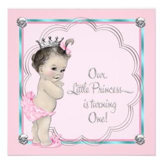 1 Geburtstag Party rosa Prinzessin- Einladung
