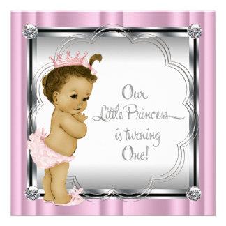 1 Geburtstag Party rosa und schwarzer Prinzessin- Individuelle Einladungskarten