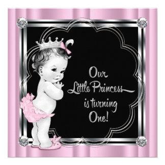 1 Geburtstag Party rosa und schwarzer Prinzessin- Ankündigung