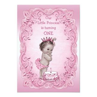 1. Geburtstag Party rosa Vintager Prinzessin- 12,7 X 17,8 Cm Einladungskarte