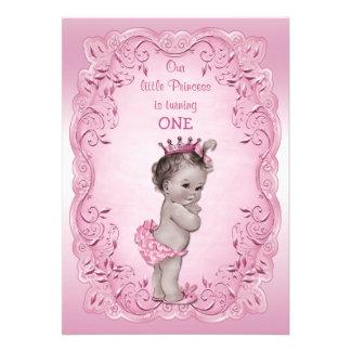 1 Geburtstag Party rosa Vintager Prinzessin- Individuelle Einladungen
