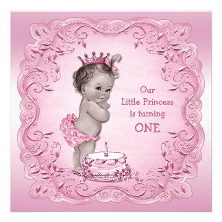 1 Geburtstag Party rosa Vintager Prinzessin- Ankündigungskarte