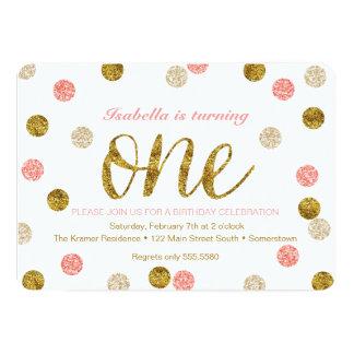 1. Geburtstag-Rosa und GoldGlitter Karte