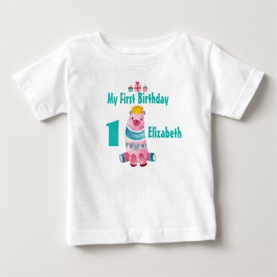 1. Geburtstagniedlicher Watercolor-Bär, der eine Baby T-shirt