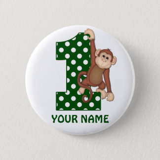 1. Geburtstags-Affe-Grün-personalisierter Knopf Runder Button 5,7 Cm
