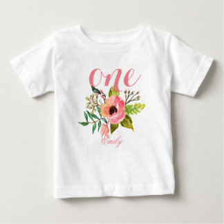 1. Geburtstags-Aquarell BlumenPersonalized-2 Baby T-shirt