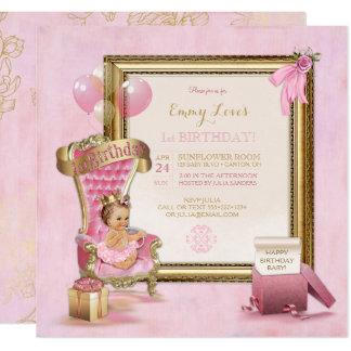 1. Geburtstags-Baby-Prinzessin Throne Gold Pink Quadratische 13,3 Cm Einladungskarte