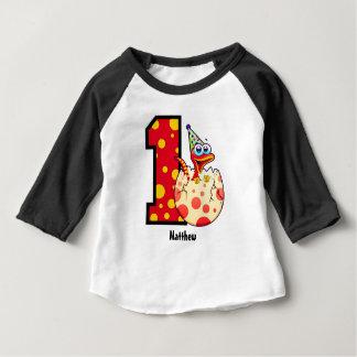 1. Geburtstags-Dino-Ei-Gewohnheit Baby T-shirt