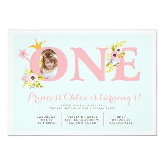 1. Geburtstags-Foto-Prinzessin Party Einladung