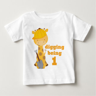 1. Geburtstags-Giraffen-Bau-Arbeitskraft-T - Shirt