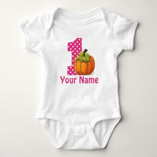 1. Geburtstags-Mädchen-Kürbis Baby Strampler