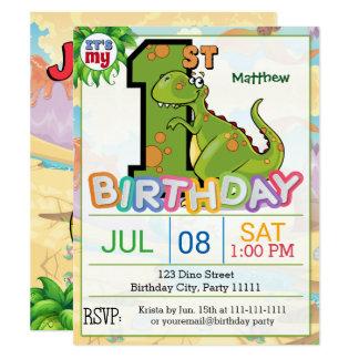 1. Geburtstags-Party-Dinosaurier-Einladung Karte