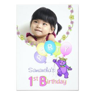 1. Geburtstags-Party-lila Prinzessin Bear mit Foto 11,4 X 15,9 Cm Einladungskarte