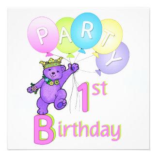 1. Geburtstags-Party-Prinzessin Bear Balloons Personalisierte Ankündigungskarten