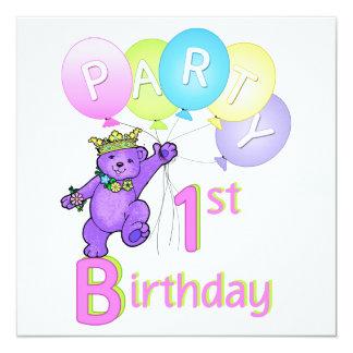 1. Geburtstags-Party Prinzessin-Bear Balloons Quadratische 13,3 Cm Einladungskarte