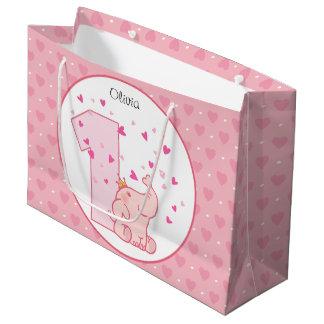1. Geburtstags-rosa Prinzessin Elephant Party Große Geschenktüte