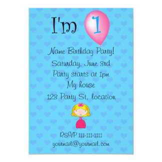 1. Geburtstagsprinzessin-Blauherzen 12,7 X 17,8 Cm Einladungskarte