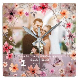 1. Hochzeits-Jahrestags-dekorative Blumen-Uhr Quadratische Wanduhr