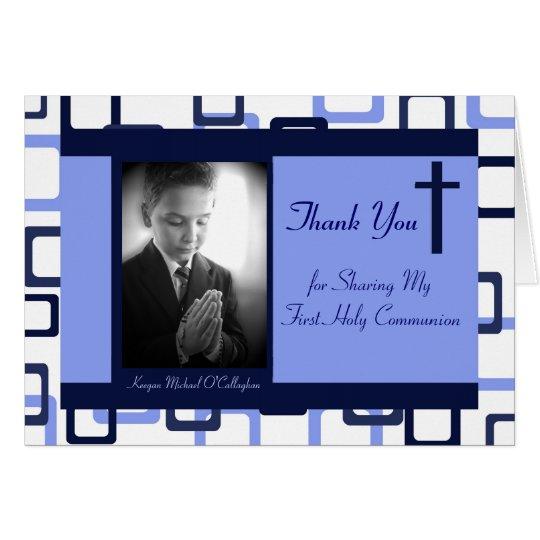 1. Kommunion danken Ihnen - Junge Mitteilungskarte