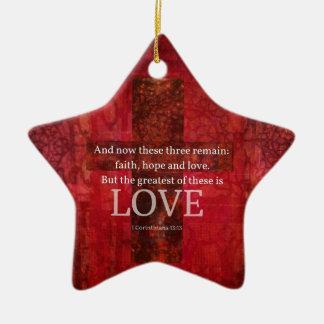 1 Korinther-13:13 BIBEL-VERS ÜBER LIEBE Keramik Ornament