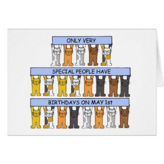 1. Mai Geburtstags-Katzen Karte
