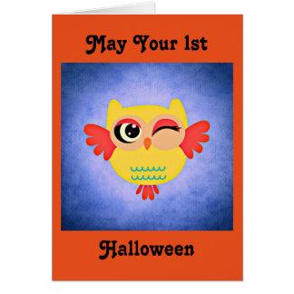1. Niedliche Eule Halloweens Karte