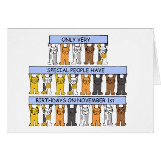 1. November Geburtstage gefeiert durch Katzen Karte