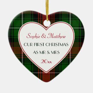 1. Weihnachtsverheiratetes Geschenk-Rotes grünes Keramik Ornament