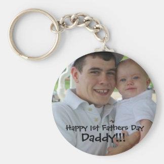 1stfathersday, glücklicher 1. Vatertag, Vati!!! Standard Runder Schlüsselanhänger