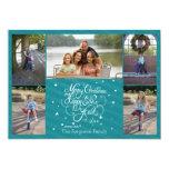 2014 5 rayures bleues de carte de vacances de Noël Invitations Personnalisées