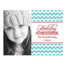 2014 angesagte Zickzack Foto-Feiertags-Postkarte