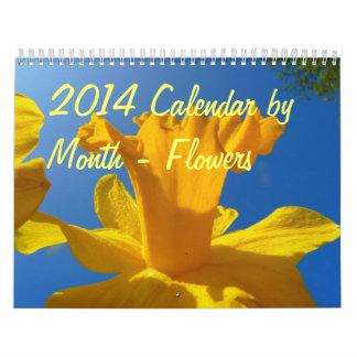 2014 Kalender bis zum Monat - Blumen