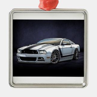 2014 Weiß-Chef 302 Quadratisches Silberfarbenes Ornament