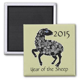 2015-jährig vom Schaf-Volkskunst-Chinese-Tierkreis Quadratischer Magnet