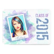 2015 Watercolor Splash Graduation Flat Card
