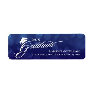 2016 graduiertes blaues Bokeh beleuchtet Abschluss Rücksende Aufkleber