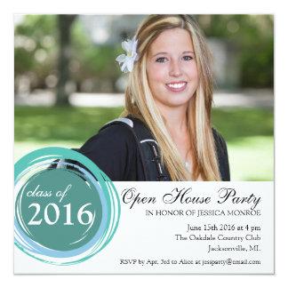 2016 offenes Haus-Abschluss-Einladungs-Blau-Kreise Quadratische 13,3 Cm Einladungskarte