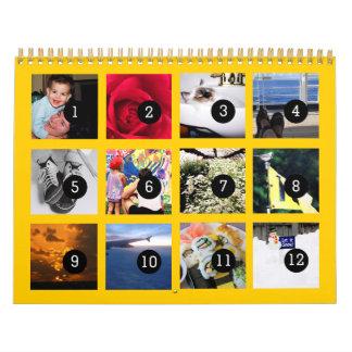 2018 einfach als 1 bis 12 Ihr Foto-Kalender-Gelb Kalender