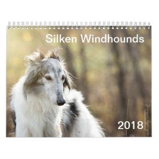 2018 seidenes Windhounds (Hauptschüsse) Wandkalender