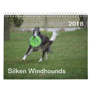 2018 seidenes Windhounds (in der Aktion) Wandkalender