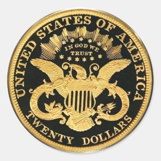 $20 doppelte Eagle Münze (Satz von 6/20) Runder Aufkleber