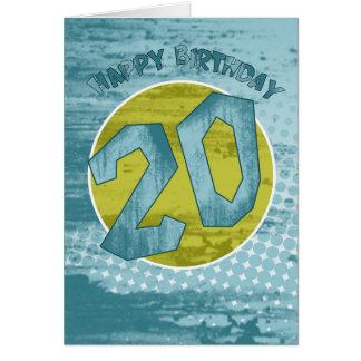 20. Geburtstags-Karte - moderner Schmutz Karte