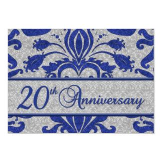 20. Jahrestags-Geschäfts-Mitteilungs-Blau 12,7 X 17,8 Cm Einladungskarte