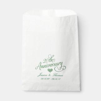 20ème Sac vert de faveur d'anniversaire de mariage Sachets En Papier