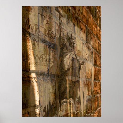 """20x28 """"des Schreibens auf der Wand"""" politisches Pl Plakatdruck"""