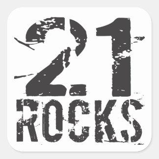 21. Felsen-Aufkleber des Geburtstags-21 Quadratischer Aufkleber