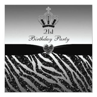 21. Geburtstag Prinzessin-Crown Zebra Glitter Quadratische 13,3 Cm Einladungskarte