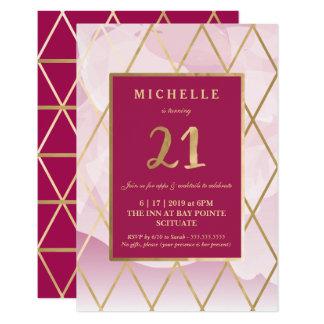21. Geburtstags-Einladung - Gold, elegant, modisch 8,9 X 12,7 Cm Einladungskarte