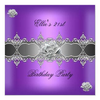 21. Geburtstags-elegantes lila silbernes Quadratische 13,3 Cm Einladungskarte